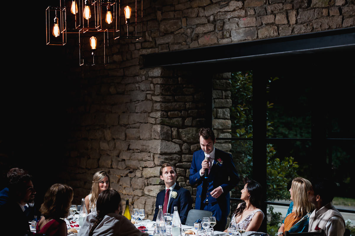 Groom's speech at the reception at Manoir de rendrecard - photo by Jeremy Fiori french wedding photographer
